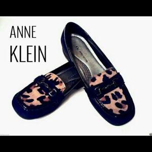 Anne-Klein-Zerega-Black-Leopard-Loafer-9-9M