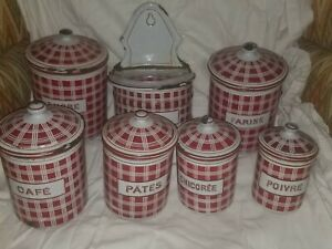 ANTIQUE-BB-B-B-FRERES-FRENCH-ENAMEL-ENAMELWARE-CANISTER-SET-RED-QUILTED-SQUARES