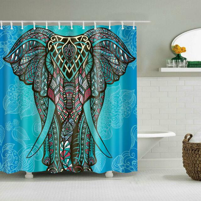 Elephant Shower Curtain Decor Set for Bathroom Indian Bohemian Pink Bath Curtain