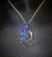 thumbnail 3 - Druzy Quartz Blue Crystal Teardrop Gold Plated Pendant goldplated chain Magical!