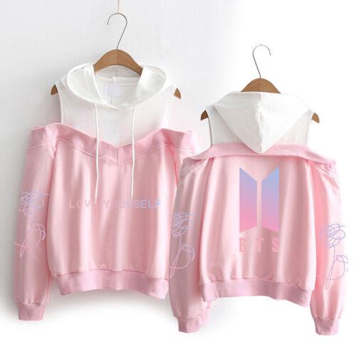 Kpop Bts Love Yourself Schulterfrei Kapuzenpullover Sweater Pullover Mantel 01
