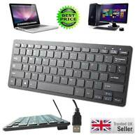 Black Mini Slim 78 Key USB Wired Compact Thin Keyboard for Desktop Laptop Mac PC
