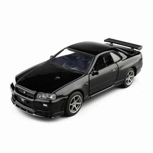 Nissan Skyline GTR R34 Sportwagen 1:36 Modellauto Metallic Spielzeug Kinder
