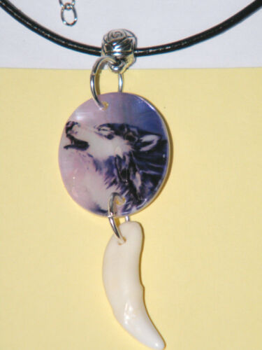 WOLF NECKLACE PICTURED ON REAL SEA SHELL WHITE COYOTE TOOTH CHOKER 17.5-19.5 NEW