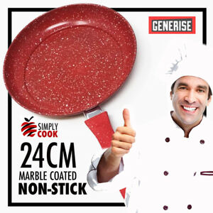 24cm-Marble-Coated-Non-Stick-Red-Frying-Pan-Forged-Cooking-Frypan-Induction-Cook