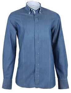 048295ff Cortigiani Men's Denim Blue Linen Casual Shirt Slim Fit, size 48 (S ...