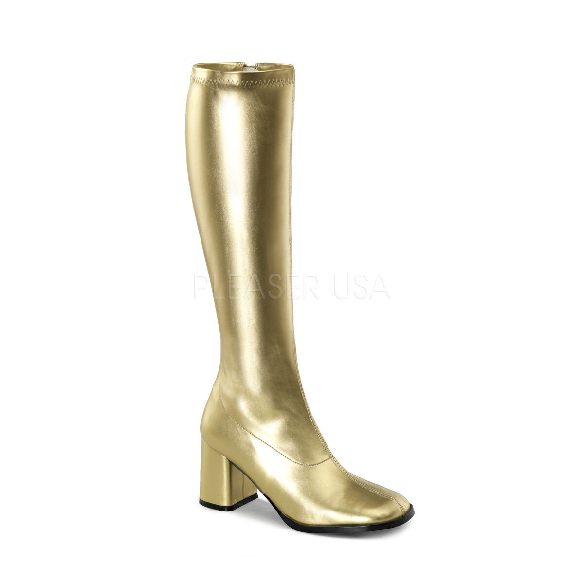 PLEASER FUNTASMA GOGO-300 GOLD PU BLOCK 70'S DISCO BLOCK PU HEEL KNEE HIGH BOOTS eed2f7