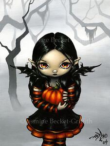 Jasmine-Becket-Griffith-art-print-SIGNED-Pumpkin-Pixie-halloween-fairy-goth-girl