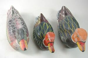 Hand-Carved-Wood-Duck-Decoy-Set-of-3-Ducks-Hand-Painted-Small