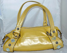 Kathy Van Zeeland Yellow Tube Faux Leather & Croc Shoulder Bag with Studs