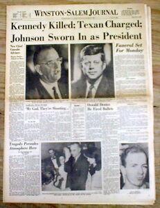 11-23-1963 Winston-Salem NC newspaper PRESIDENT JOHN F KENNEDY is ASSASSINATED