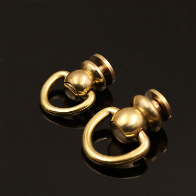 Brass Round Head Rivet studs screw D Ring Nail Spiles Leather craft Punk Spots