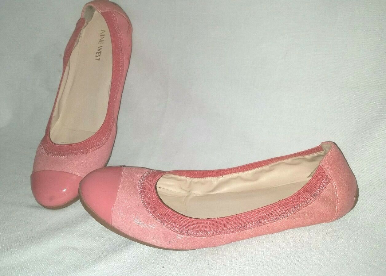 Nice Cute NINE WEST Jentle Größe 10M Ballet Flats Driving Schuhes Patent Tips Peach