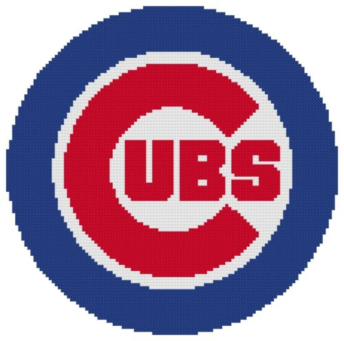 Chicago Cubs Logo Counted Cross Stitch Pattern Free US Shipping