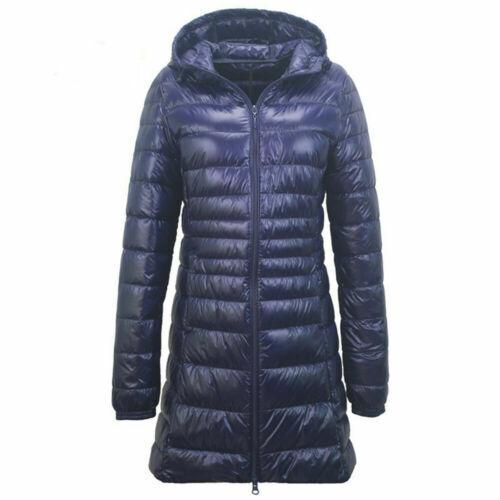 Women Ultralight Plus Size Down Jacket Puffer Coat Hooded Parka Slim Fit Outwear