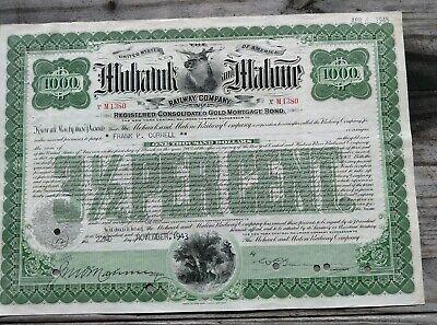 Mohawk /& Malone Railway Company $1,000 1940s Gold Bond