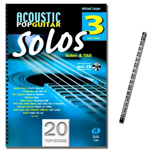Acoustic Pop Guitar Solos 3 mit CD MusikBleistift 9783868492705