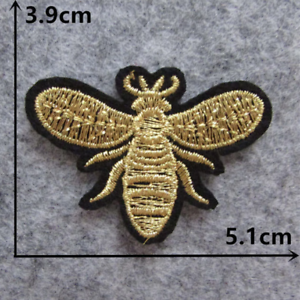 Gold-Bee-Patch-for-Embroidery-Cloth-Patches-Badge-Iron-Sew-On
