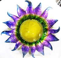 Sun Yard Ornament W/glass Face & Purple Metal Sun Rays Home Decor