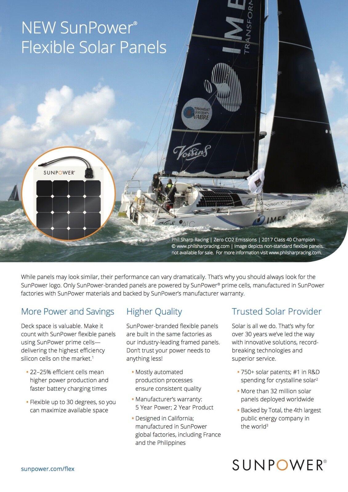 Sunpower 50 Watt Flexible Monocrystalline High Efficiency Solar Panel