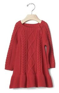 10204be6a8c Baby Gap Girl Cable Knit Sweater Festive Girls Dress Red Size 6-12 ...