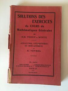 Solutions Las Ejercicios de La Curso Matemáticas Vessiot Montel Tetrel C.1930