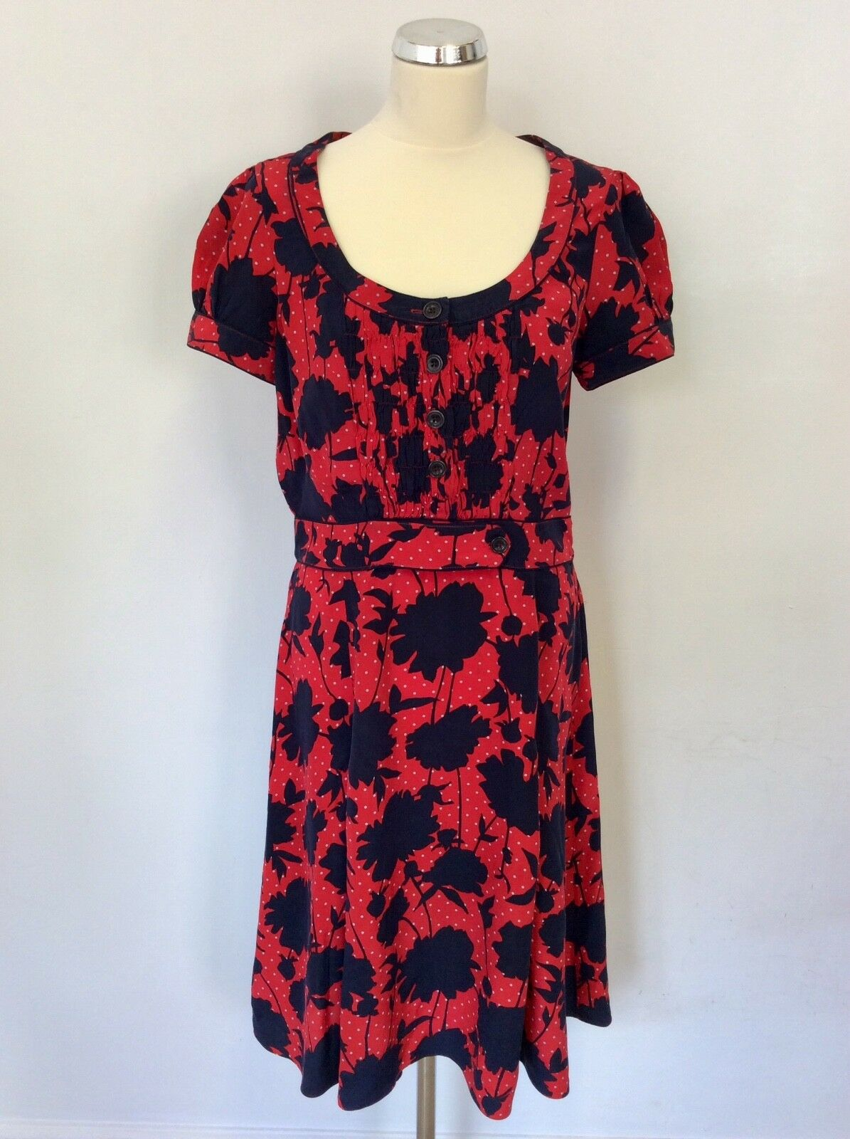 WHISTLES RED & NAVY SPOT & FLORAL PRINT SILK DRESS SIZE 8