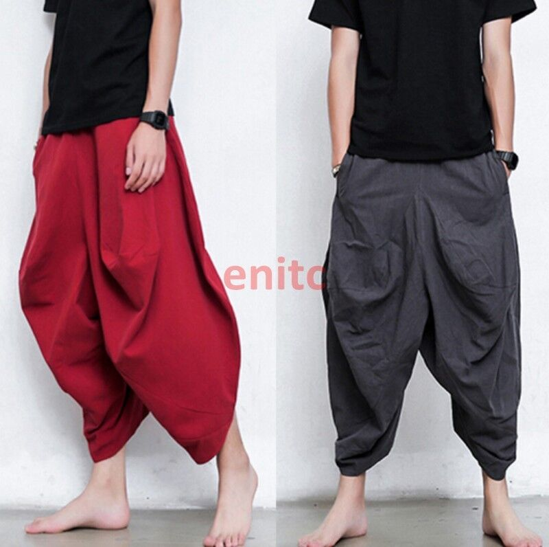 Mens Thai India Style Dance Personalized Carpenter Drop Credch Loose Harem Pants