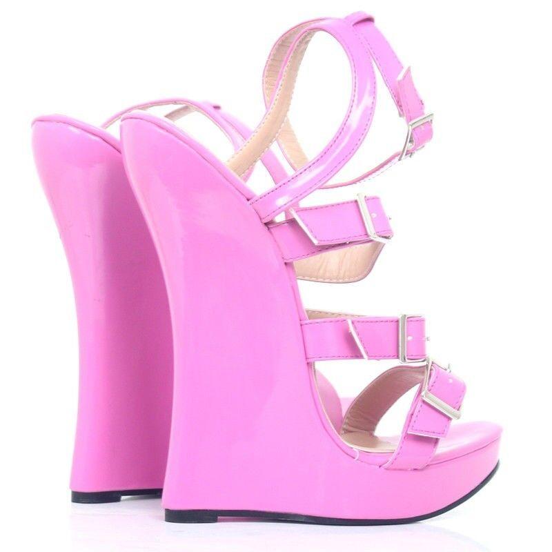Womens 7  Extreme High Platform Wedge Wedge Wedge Heel shoes Ankle Buckle Nightclub Sandals 2232d3