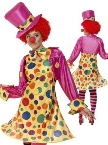 Ladies Circus Clown Costume Funny Comic Relief Women Fancy Dress Uk 8-22