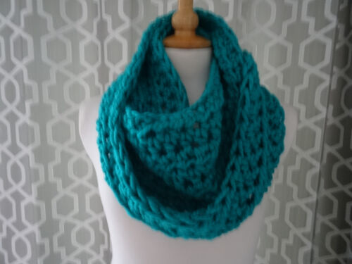 super chunky scarf infinity scarf hand crafted crochet aqua gift snood