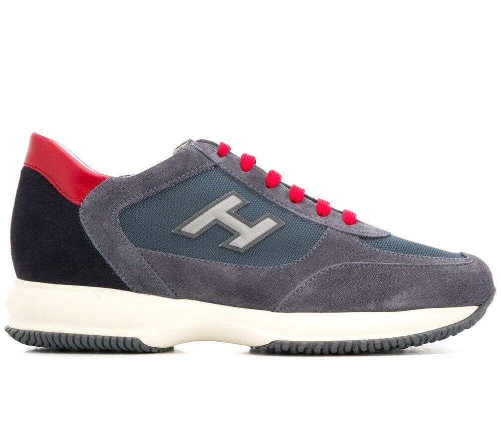 Hogan scarpe uomo scarpe da ginnastica interactive h flock HXM00N0Q102JGF489N BLU-ROSSO