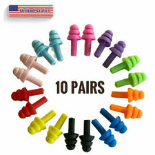 10 Pairs Of Reusable Soft Silicone Earplugs Swimming Sleeping Noise Reduction