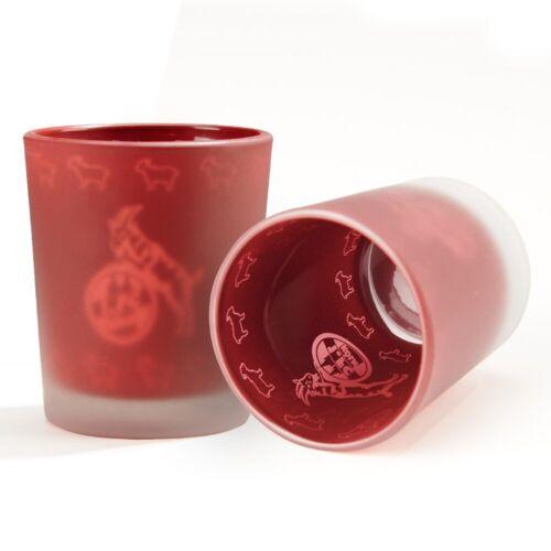 1 Teelichtglas FC Köln Windlicht 2er Set plus Lesezeichen I Kerzenglas rot