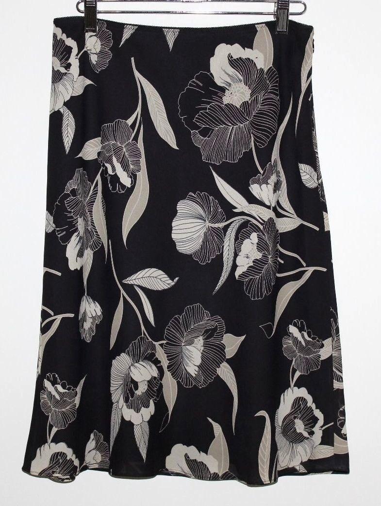 Ann Taylor Loft - 10p ( Pm ) - Beige & Schwarz Blaumenmuster Polyester A-Linie
