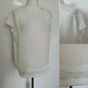 NEXT-Petite-Women-Top-Blouse-White-Work-Office-Short-Lacy-Sleeve-Embroidered-10