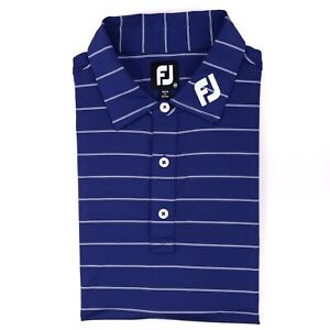 FootJoy-FJ-Collar-Polo-Medium-Blue-Striped-Titleist-Golf-Golfing-Mens-Size-Shirt