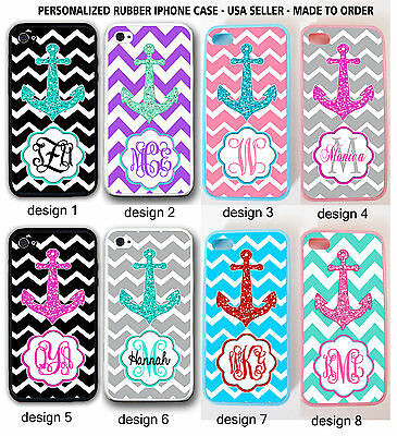 PINK TEAL BLACK GREY CHEVRON ANCHOR MONOGRAM Rubber Case For IPHONE 6 / 6 PLUS