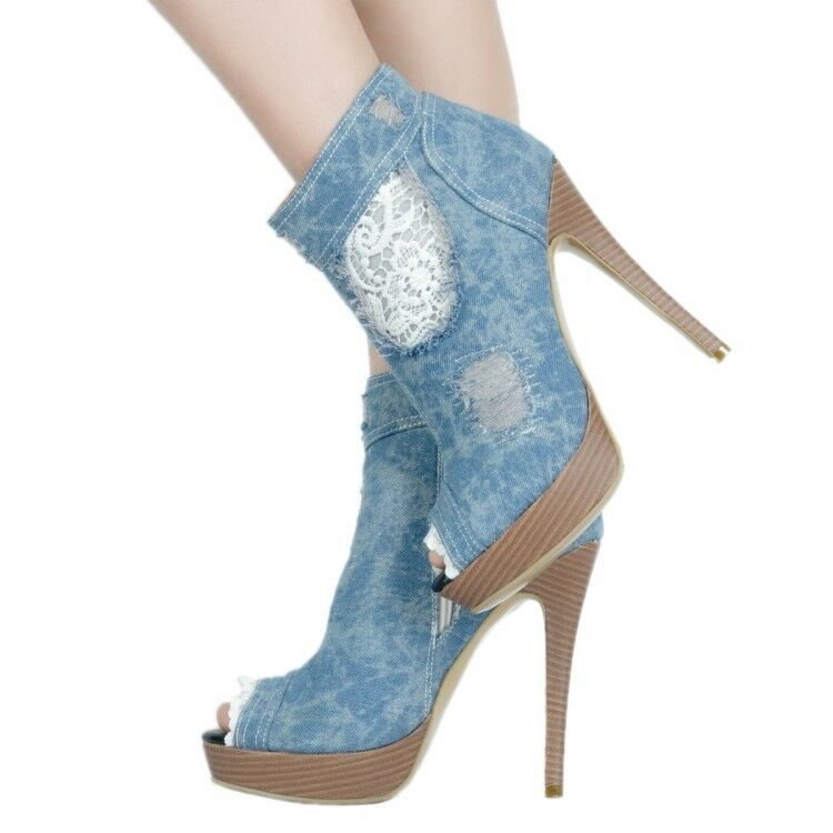 Womens Denim Ankle Boots Peep Peep Peep Toe Stilettos Fashion High Heels Platform shoes BN 672396