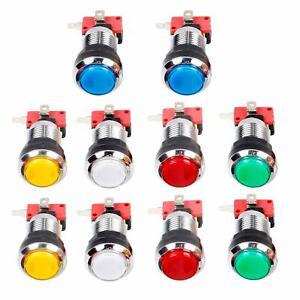 10x-Arcade-Chrome-Plating-LED-Illuminated-Push-Buttons-12V-Each-Color-of-2-Pcs