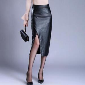 OL-Business-Unifarben-Damen-Schwarz-Lederroecke-Wrap-Hohe-Taille-Wadenlang-Kleid