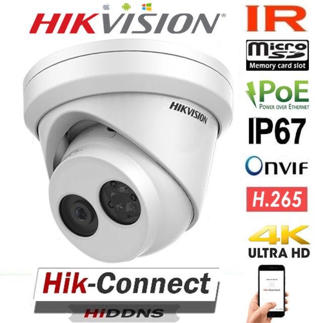 HIKVISION 4K UHD DS-2CD2385FWD-I  POE 8MP IR TURRET HOME SECURITY CAMERA