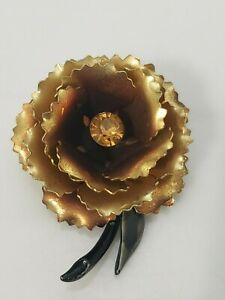Vintage Rose Flower Brooch Pin Layered Faux Amber Rhinestone Enamel Gold Tone