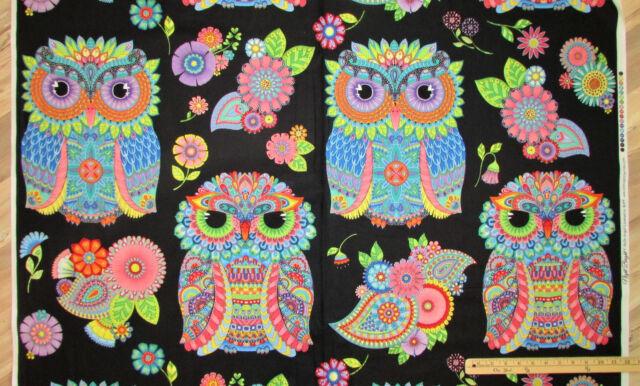 "Night Bright Black Large Owls Fabric Panel//Repeat  24/""  #77601"