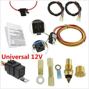NEW ELECTRIC COOLING FAN WIRING INSTALL KIT 185//165 THERMOSTAT WITH RELAY