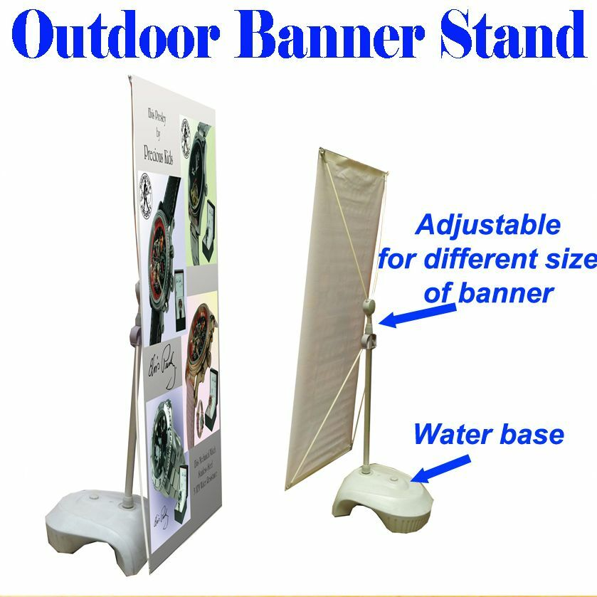 Outdoor Adjustable X Banner Stand W Water Base Trade Show