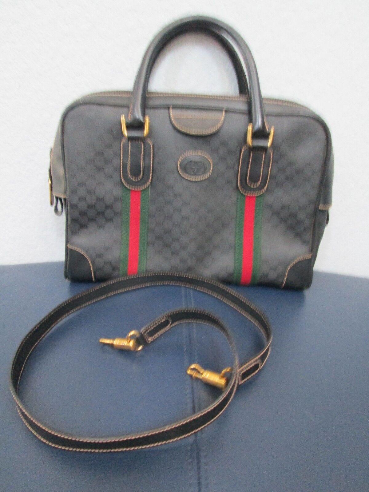 Authentic Vintage Gucci Black Classic Satchel Red… - image 3