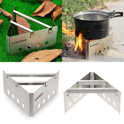 LIXADA Portable Stainless Steel Wood Stove Outdoor Cooking Picnic Camping J8J8