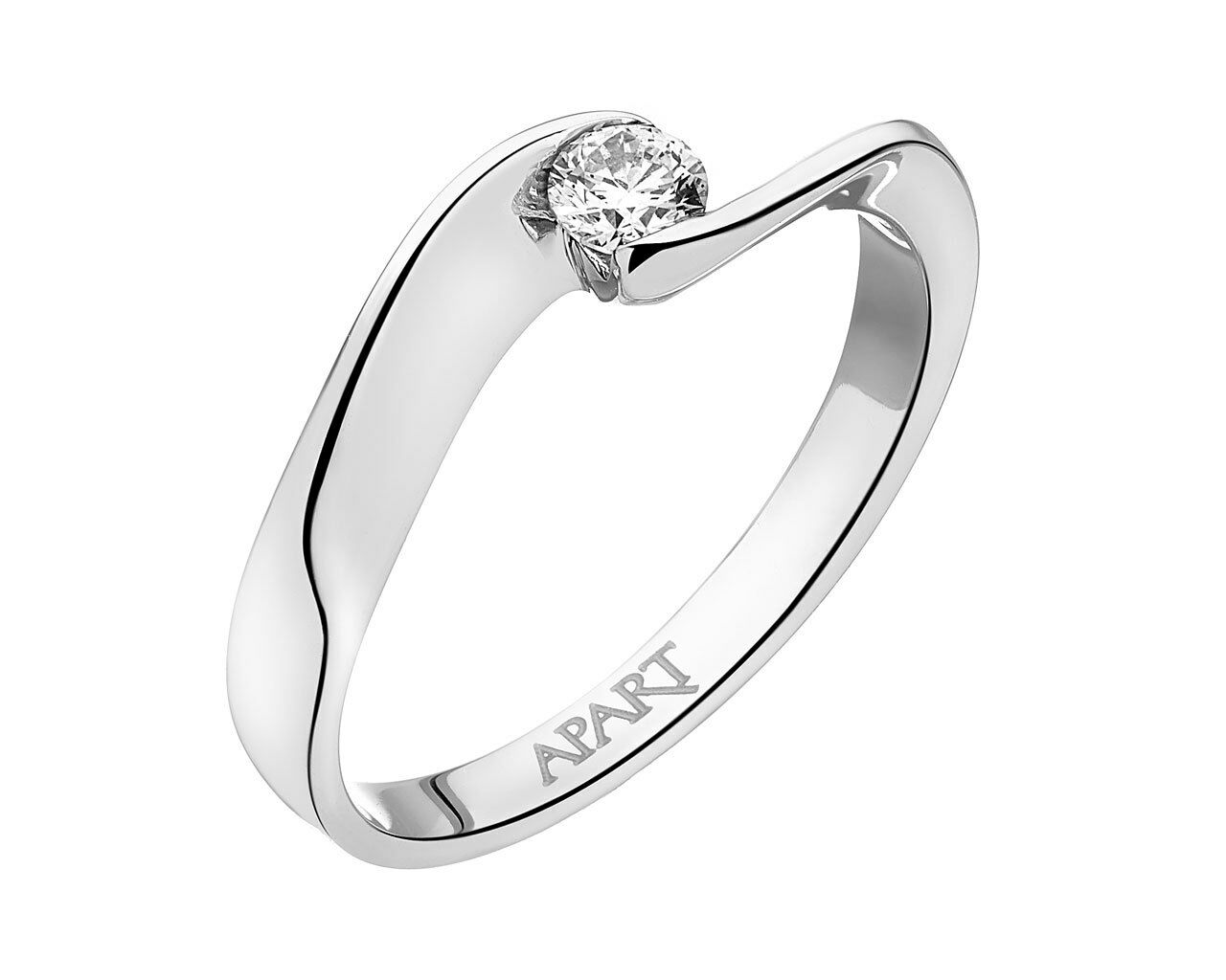 APART  White gold, engagment ring with diamond 0.17ct
