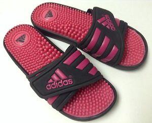 733ad10f3364 CLOSEOUT Adidas C76080 Women Adissage Slide Black   Hot Pink Size 5 ...